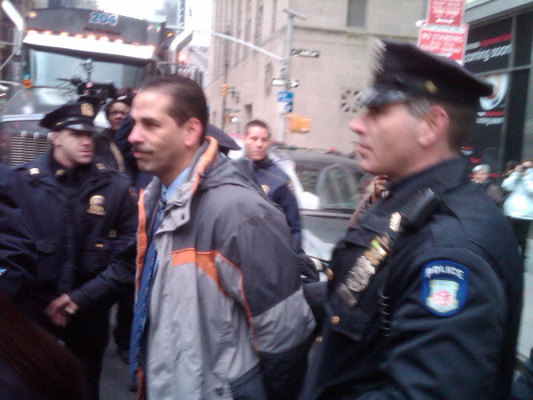 Cabrera  arrested after peaceful protest during Mayor's state of the city speech in the Bronx. Photo: Norwood News.