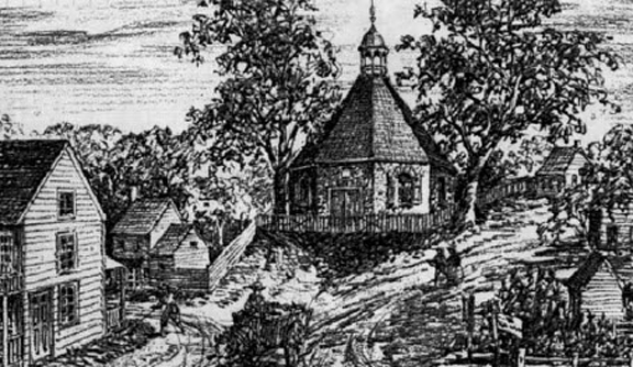 "Original Bushwick Dutch Reformed Church. Illustration from ""Historic and Beautiful Brooklyn: Bushwick."" Brooklyn Eagle, 1946."
