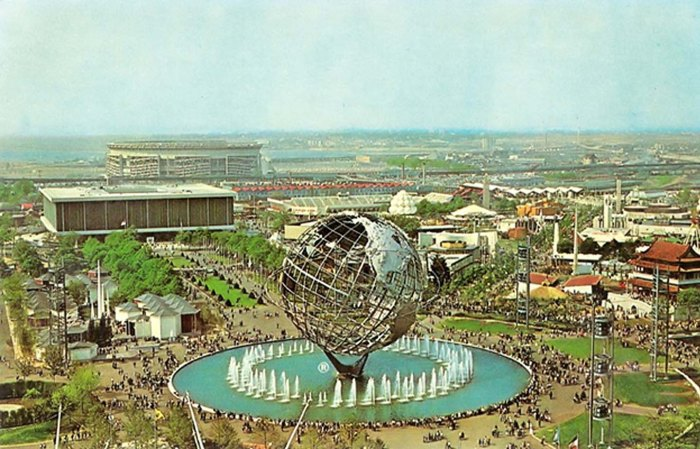 Overview with Unisphere, a 900,000 pound 12-story high stainless steel model of the earth, in the center.