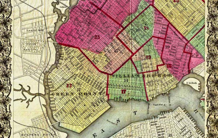 1868 Bishop Pocket Map of Brooklyn. Source: Brooklyn Library.