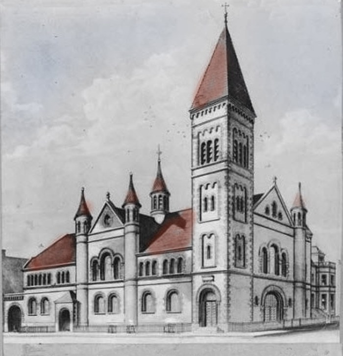 Illustration of St. Paul's German Evangelical Lutheran Church, Williamsburg, 1884. Source of image: Brooklyn Historical Society