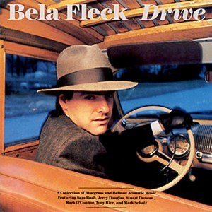 "Cool Noir portrait of Bela Fleck in 1940s car on his album cover for ""Drive"""
