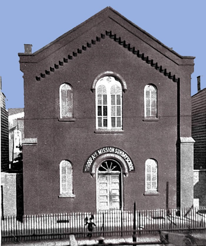 Throop Avenue Mission Sunday School Building, Hopkins Street, 1899. The South Third Presbyterian Church of Williamsburg established this Sabbath School in a poor, desolate area of Brooklyn. It birthed a church as well as housing the German YMCA as well as  congregations for German, Rumanian and other immigrants, African Americans. The Fanny Crosby dedicated one of her hymns to the leader of this Sunday School.
