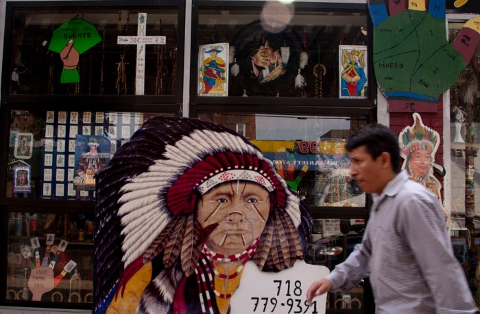 Roots religion on Roosevelt Avenue, Jackson Heights, Queens. El Indio Amazonico. Photo: Tony Carnes/A Journey through NYC religions