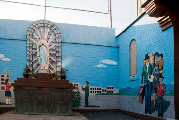 Outdoor shrine thanking Mary for safety of immigrants, St. Joseph Patron of Universal Church, Bushwick, Brooklyn. Photo: Tony Carnes/A Journey through NYC religions