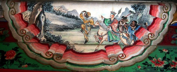 Journey to the West decoration in the Summer Palace, Beijing, China. The four heros of the story, left to right: Sun Wukong, Xuanzang, Zhu Wuneng, and Sha Wujing. The painting is a decoration on the Long Corridor in the Summer Palace in Beijing, China. Photo: Wikicommons/Rolf Müller,  April 17, 2005.