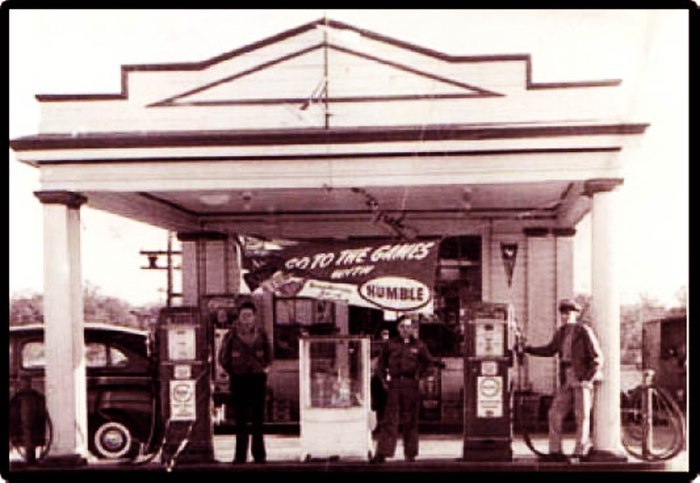 A Humble Oil gas station in Cisco, Texas during Neuhaus time there