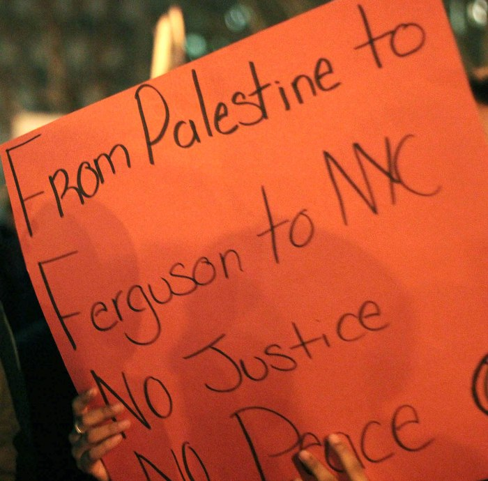 Unsolvable conflict? Muslim activists linked Israeli treatment of Palestinians with Michael Brown's death in Ferguson and Eric Garner's death in Staten Island, NY. Photo: Pauline Dolle/A Journey through NYC religions