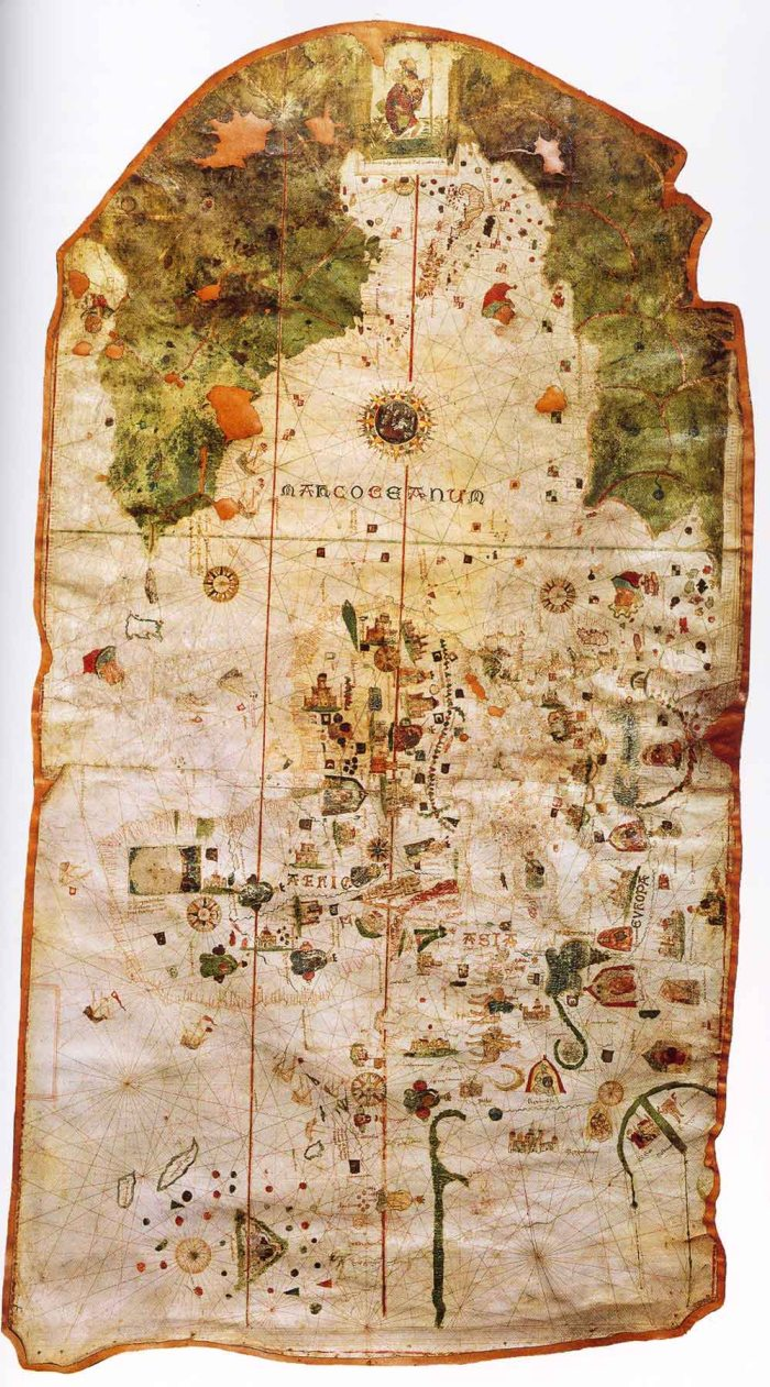 Map by Columbus' navigator Juan de la Cosa. At top is St. Christopher bearing Christ between Europe (on the right) and Americas (on the left). Some think that the likeness of St. Christopher is actually the earliest portrait that we have of Columbus. Map from the Naval Museum, Madrid, Spain.