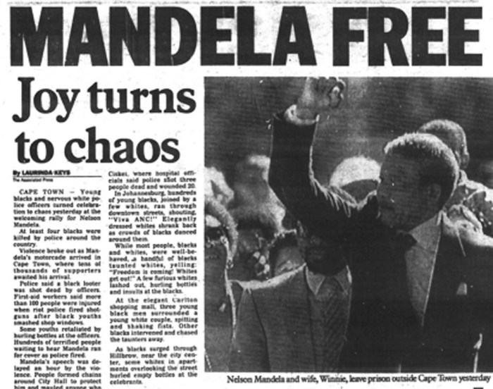 "The networld started to empower more campaigns like ""Free Mandela."" Source: NY Daily News, February 12, 1990."