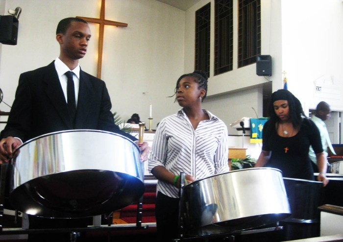 Steel pan players concentrate and coordinate. Photo: Pauline Dolle/A Journey through NYC religions