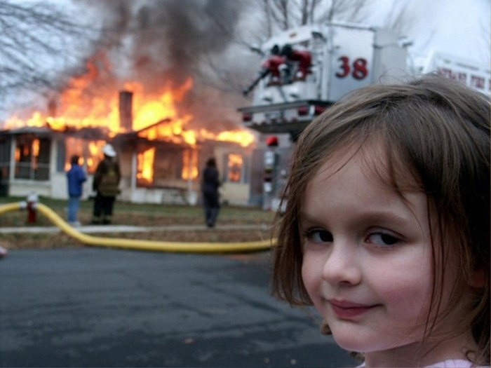 """BuzzFeed's """"Disaster Girl"""" meme released on October 8, 2008."""