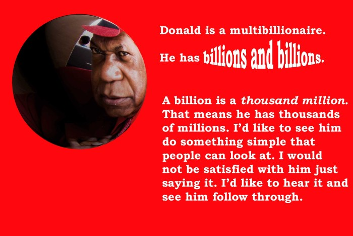 DeLoatch says Trump has thousands of millions