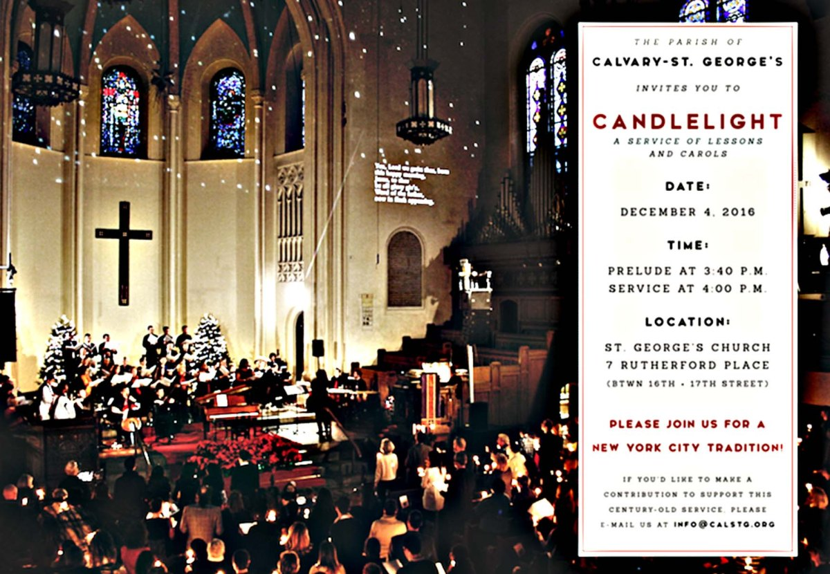 BILLBOARD -- Candlelight Service at St. George's, Sunday December 4