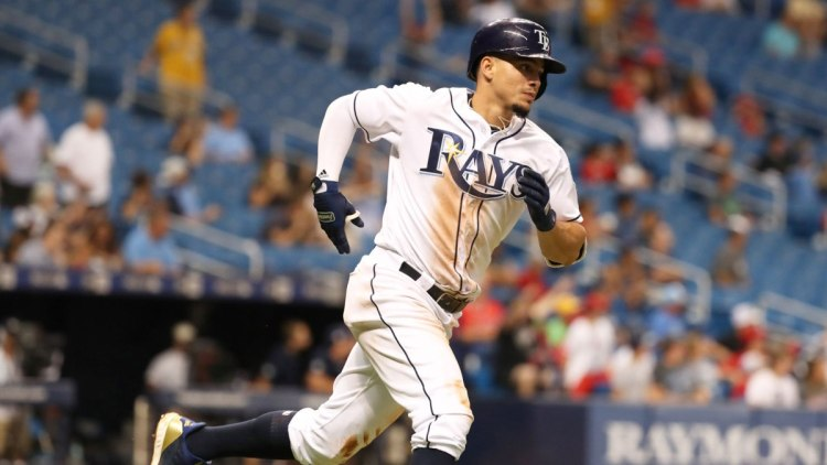 Aug 1, 2018; St. Petersburg, FL, USA;Tampa Bay Rays shortstop Willy Adames (1) runs the bases after hitting a solo home run during the sixth inning against the Los Angeles Angels  at Tropicana Field. Mandatory Credit: Kim Klement-USA TODAY Sports