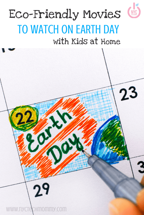 Stuck at home on Earth Day? Why not plan an eco-friendly-themed movie night -- here's a great list of eco-friendly movies to watch on Earth Day with kids at home  #EarthDay #MoviesForKids #EcoFriendly #EarthDayMovies #HomeQuarantine #KidsMovieNight
