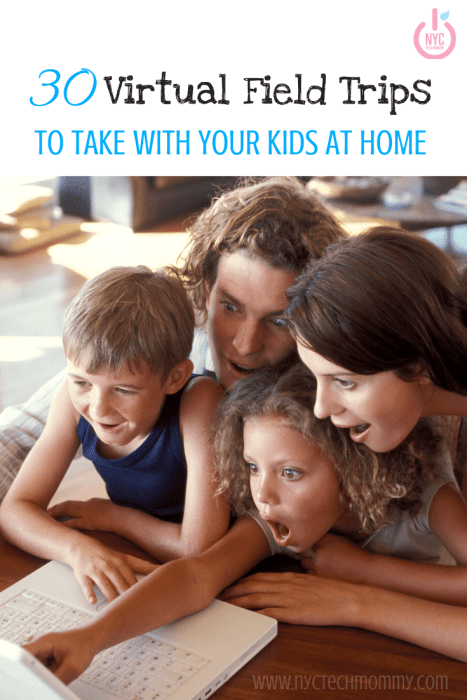Here's a great list of virtual field trips to take with your kids now that your home! Visit famous landmarks, museums, national parks, zoo, and many other places of interest across the globe! #virtualfieldtrips #homelearning #remotelearning #kidsactivitiesathome