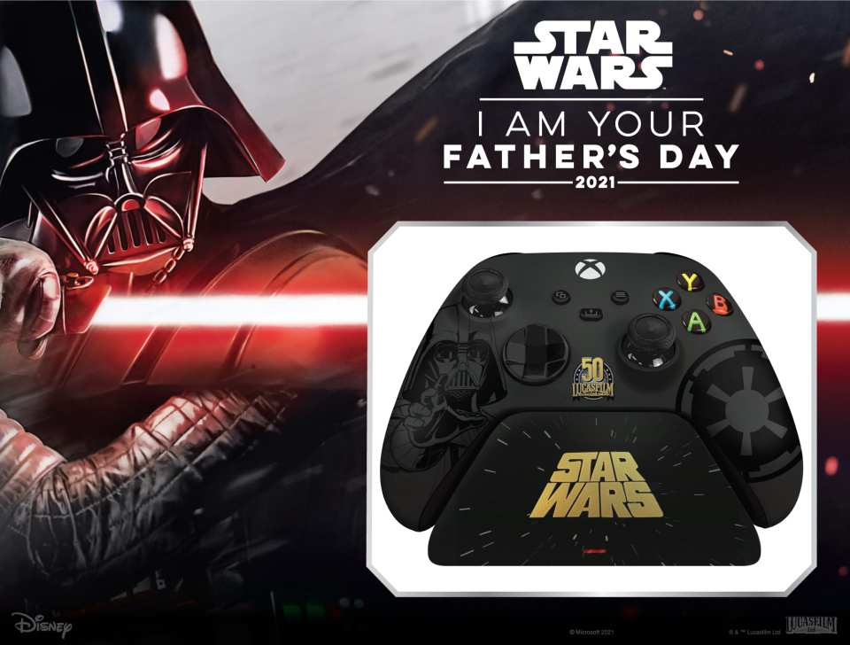 I AM YOUR FATHER'S DAY 20201 - Star Wars themed gifts for Dad -- Limited Edition Darth Vader Razer Wireless Controller + Quick Charging Stand for Xbox