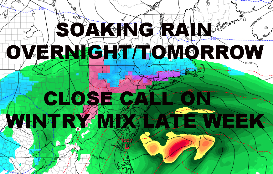 NYC SOAKER AHEAD BRIEF WINTRY MIX POSSIBLE LATE WEEK