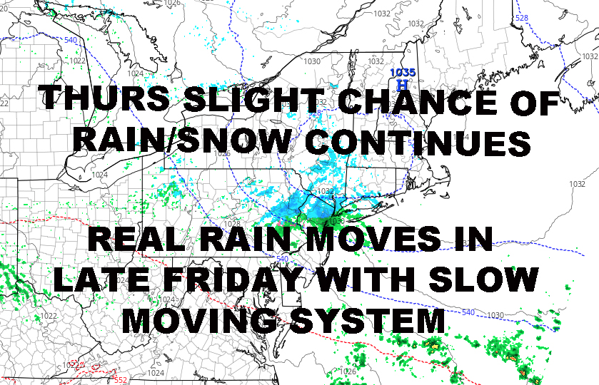 NYC LIGHT RAIN SNOW POSSIBLE TOMORROW BIGGER RAIN FRIDAY OVERNIGHT