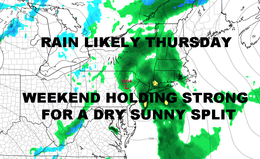 SEASONAL NYC SPRING START TOMORROW RAIN ARRIVES THURSDAY