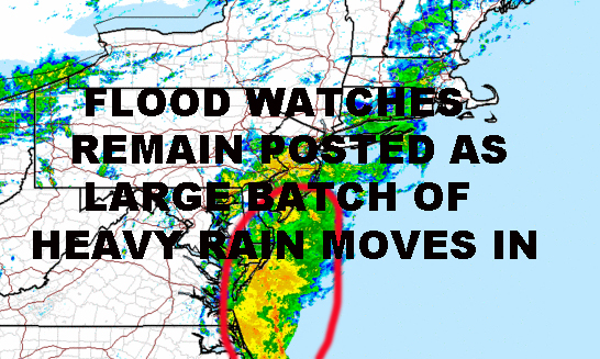 NYC HEAVY RAIN MOVING INTO AREA FLOOD WATCHES REMAIN