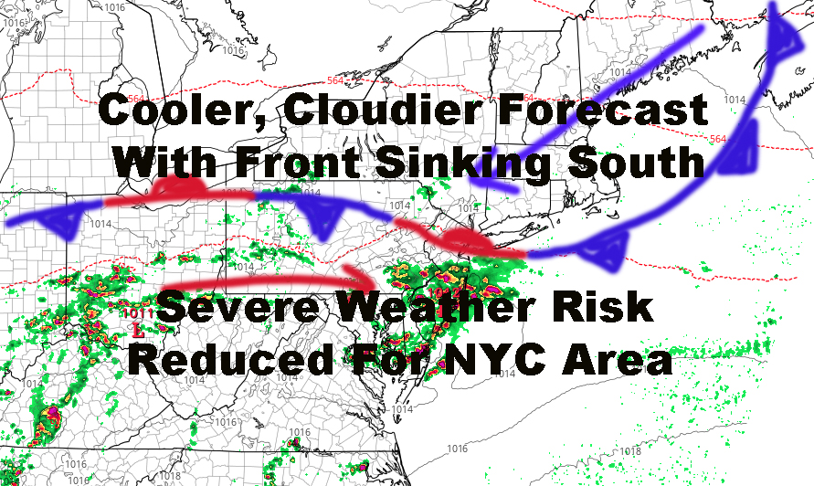 NYC Cloudier Cooler Forecast Severe Weather Risk Reduced