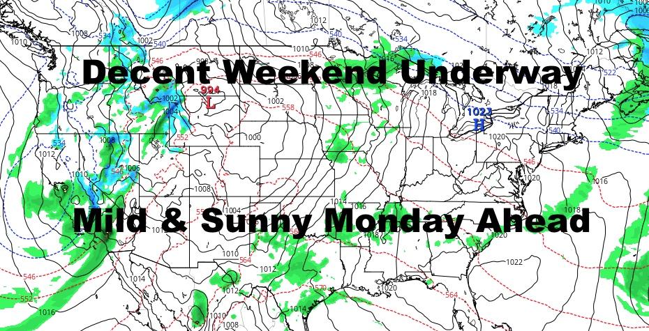 Low Pressure Pulls Away To Let Decent Weekend & Mild Monday Happen