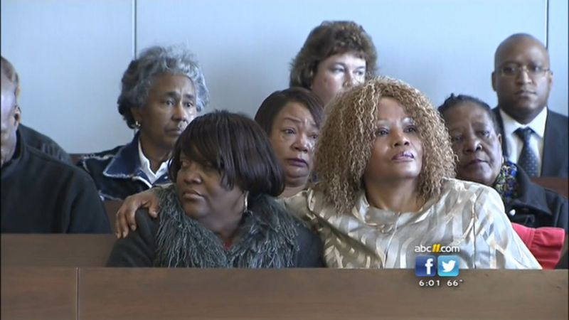Family members of Reginald Daye, including his cousin Tracey Daye Wilson (front left) and his sister Cynthia Wilson (front right) watch as Crystal Mangum is found guilty of second-degree manslaughter in his stabbing death.