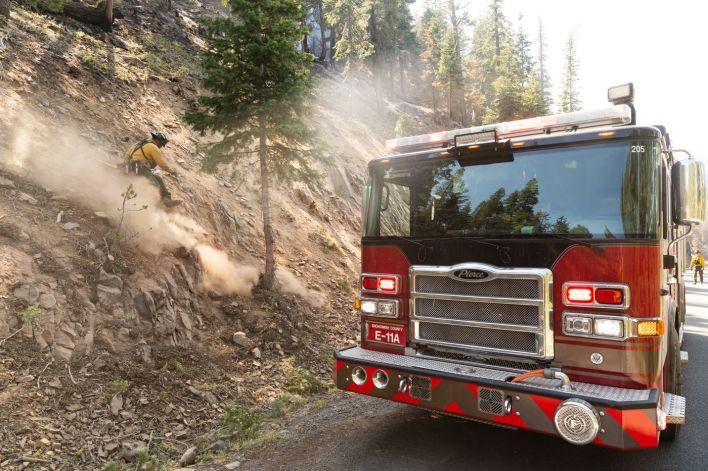 Fire crews do mop in the Bravo Bravo section of the Bootleg Fire on July 21, 2021, in the Fremont National Forest of Oregon.