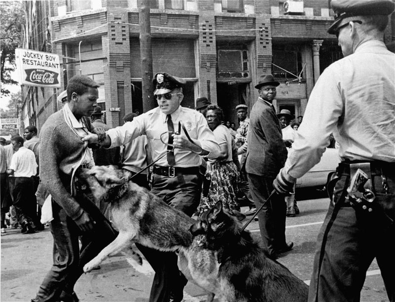 A 17-year-old civil rights demonstrator being attacked by a police dog during protests.