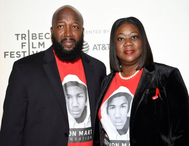 """Trayvon Martin's parents Tracy Martin, left, and Sybrina Fulton attend the Tribeca TV screening of """"Rest in Power: The Trayvon Martin Story"""" at the 2018 Tribeca Film Festival in New York."""
