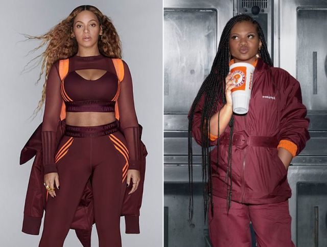 Popeyes is getting into formation – ala Beyonce's sold out Ivy Park fashion line (left) – with a clothing collection of their very own (right).