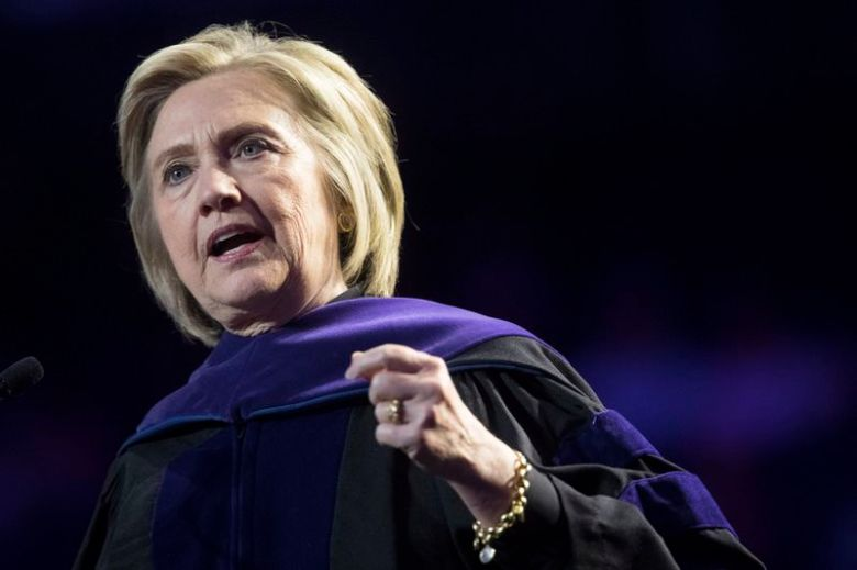 Hillary Clinton delivers Hunter College's commencement address on May 29, 2019 in New York.