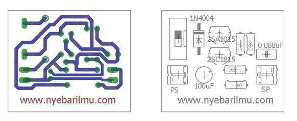 rangkaian alarm dengan menggunakan transistor - board dan tata letak komponen