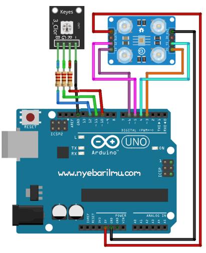 Rangkaian Sensor Warna TCS230 dengan arduino Uno.