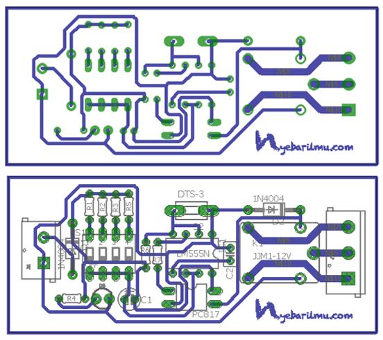 Rangkaian delay timer ic 555 - Board PCB + tata letak komponen
