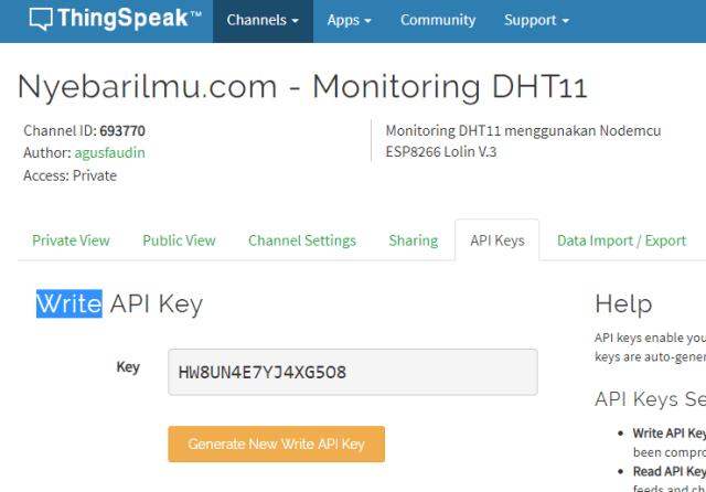 Write API Key nyebarilmu.com DHT11