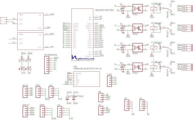 Schematic RF wireless 4 channel