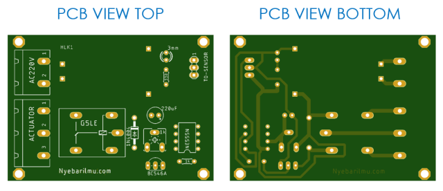 pcb top view and bottom view pengering tangan sederhana
