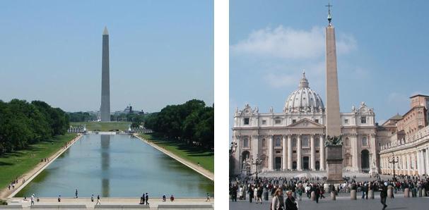 Obelisken, som er en fire siders søyle som er orientert mot de fire himmelretninger. På toppen er det en pyramide. Den representerer kombinasjonen av såvel politisk som religiøs makt på verdensplan. Den finnes bl.a. i USA (George Washington- monumentet - bildet til v.)  og i Vatikanet (på Petersplassen - bildet til h.).