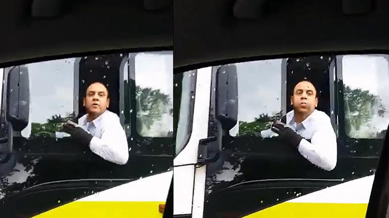 Nobinan kuski sylkee bussin ratista toista autoa päin (video)