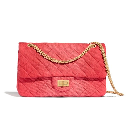 2.55 Chanel Bag in coral quilted denim