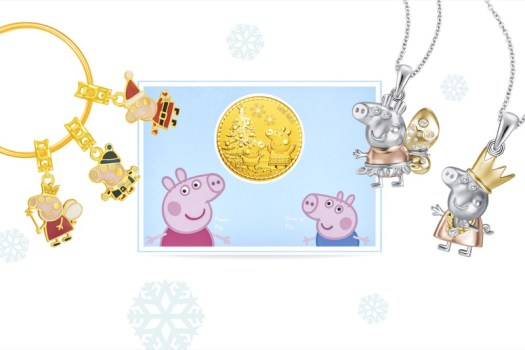 Christmas collection. From left to right: Christmas 916 Gold Charms ($169-$299), Peppa & George Christmas Wish Gold Coin ($69), Christmas White Gold Diamond Pendant ($169-$599)