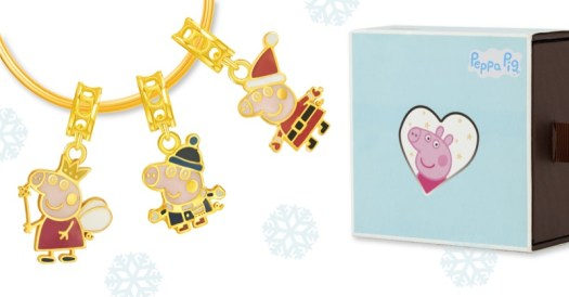 Christmas 916 Gold Charms. From left to right: Peppa Fairy ($199), George Winter Time ($169), Peppa Santarina $169