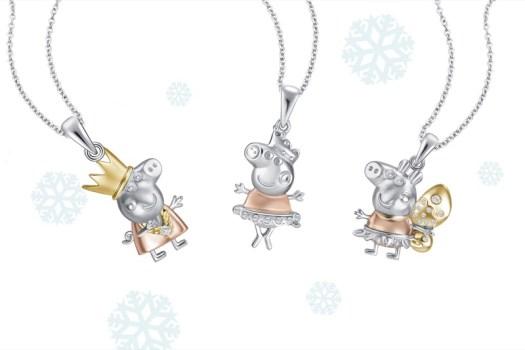 Christmas White Gold Diamond Pendant. From left to right: Princess Peppa Pendant ($169), Peppa Ballerina Pendant ($199), Peppa Butterfly Pendant ($369)