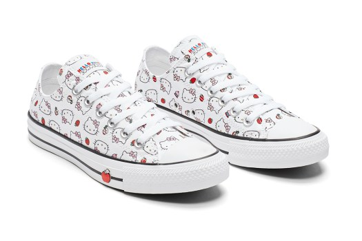 This cute pair of low cut Chucks is covered in a Hello Kitty and strawberry  print. Along the outer soles 72f15ebf0c