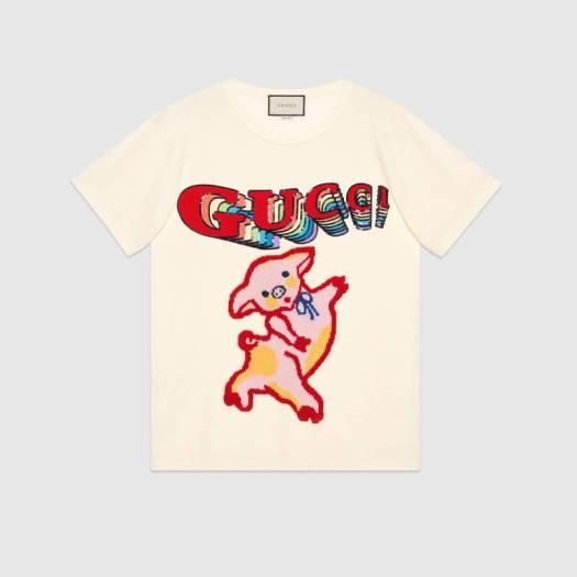 Women's oversize cotton T-shirt with piglet