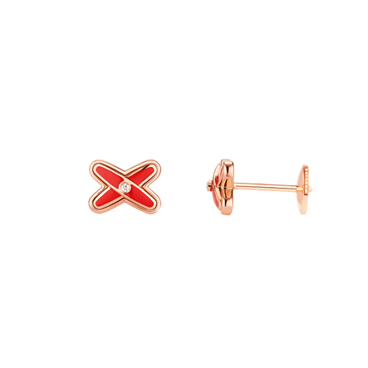Jeux de Liens Pink Gold Stud Earrings with Diamonds and Madder Red Lacquer ($1580)