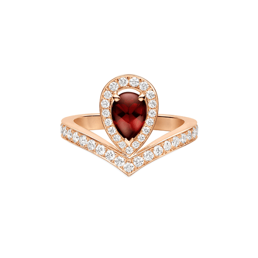 Chaumet Joséphine Aigrette Ring in 18-carat Pink Gold Set with One Pear-shaped Buff-top Pyrope Garnet of 1 Carat and Brilliant-cut Diamonds ($10500)